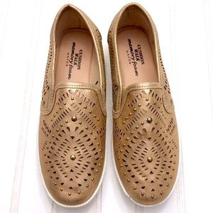 NWOT Rose gold laser cut studded slip-on sneakers